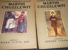 ANTIQUE PB LLOYD'S SIXPENNY DICKENS ILLUSTRATED c1910 2 X VOLS MARTIN CHUZZLEWIT